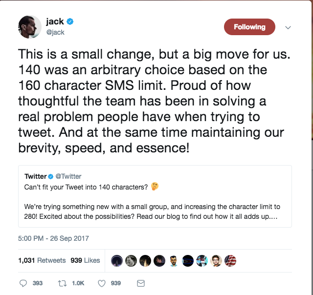 Twitter is going to let you make your tweets twice as long