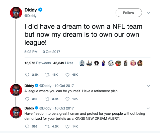 Diddy doesn't want to own an NFL team anymore