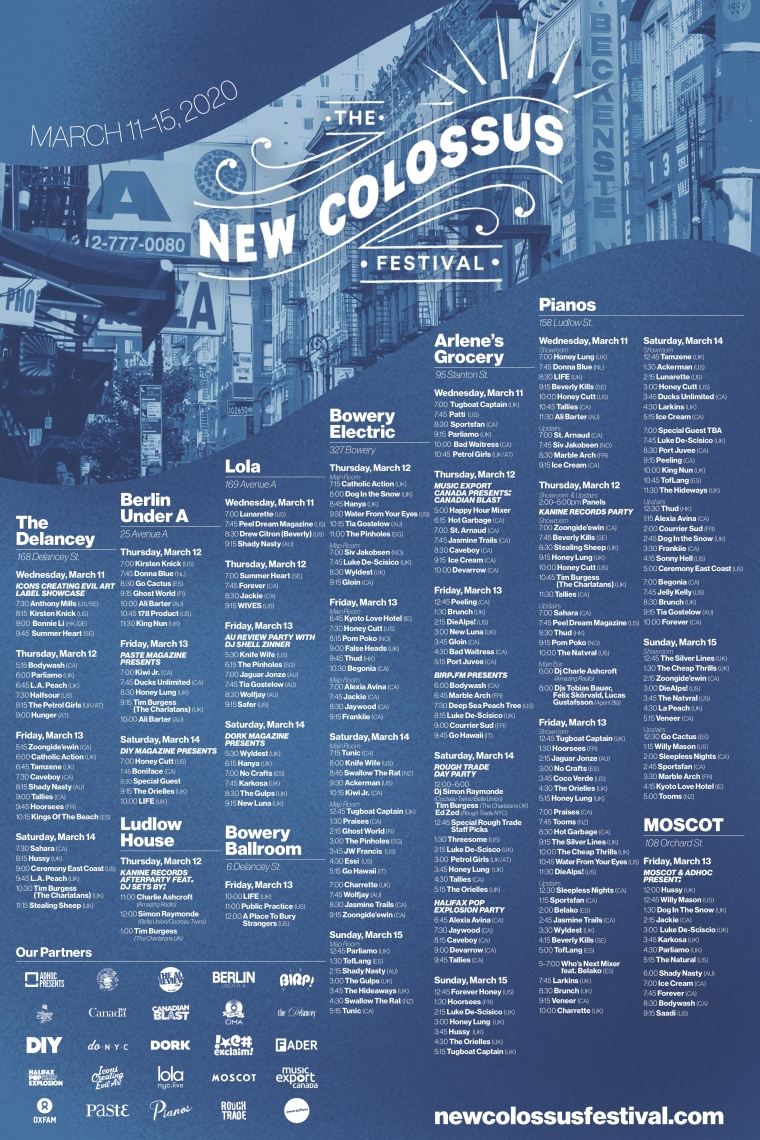 New Colossus Festival returning to New York for 2020