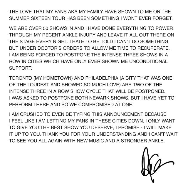 Drake Postpones Summer Sixteen Tour Dates After Injuring His Ankle