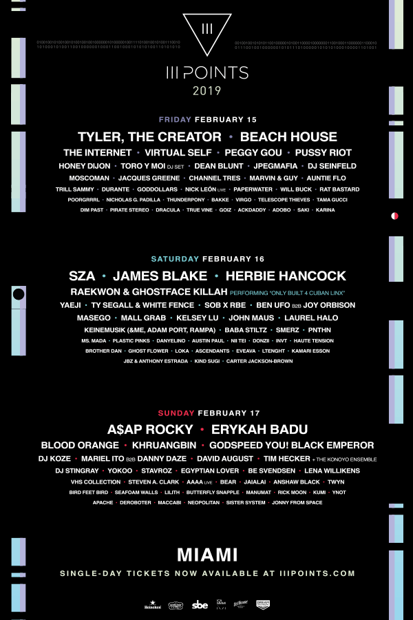 III Points announces its 2019 lineup featuring SZA, Tyler, The Creator, A$AP Rocky