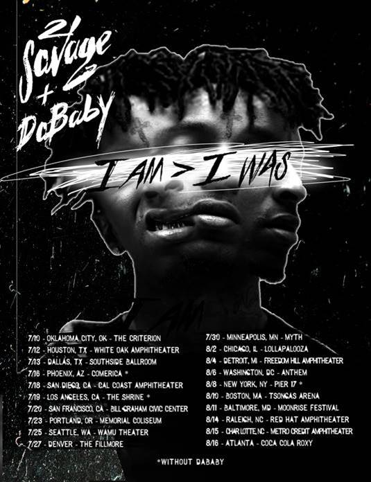 21 Savage announces tour with DaBaby