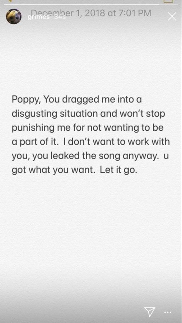 "Grimes responds to Poppy ""bully"" claims"