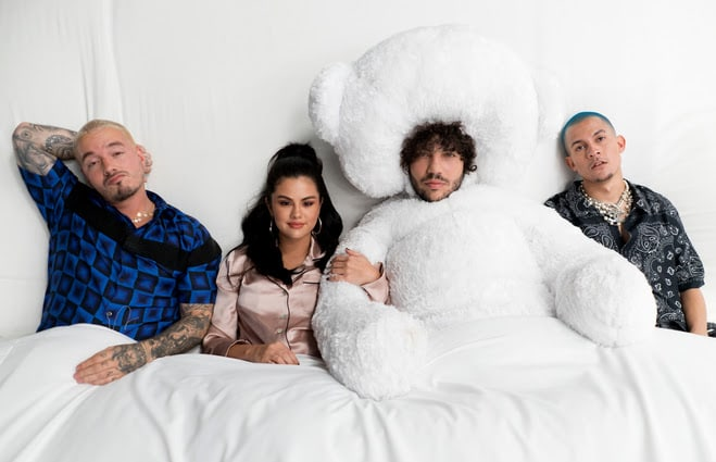 "Benny Blanco, Selena Gomez, J Balvin, and Tainy share ""I Can't Get Enough"""