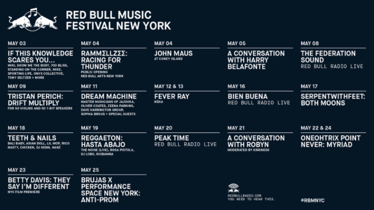 Red Bull Music Festival NY includes serpentwithfeet, Robyn, and Harry Belafonte