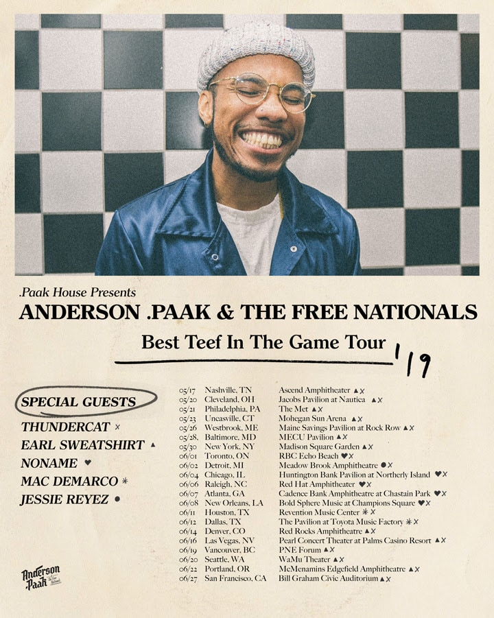 Anderson .Paak announces new album, tour with Earl Sweatshirt, Noname, Thundercat, Mac DeMarco, and more