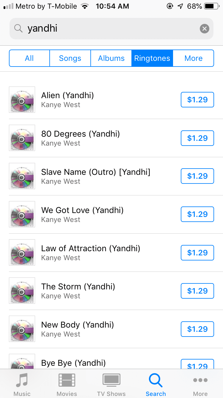 Kanye West's <i>Yandhi</i> is now on iTunes, but only as ringtones